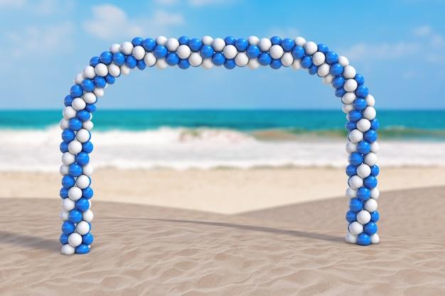 Koncepcja wakacji letnich. białe i niebieskie balony w kształcie łuku, bramy lub portalu na ekstremalnym zbliżeniu wybrzeża bezludnego oceanu. renderowanie 3d