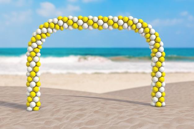 Koncepcja wakacji letnich. białe i żółte balony w kształcie łuku, bramy lub portalu na ekstremalnym zbliżeniu wybrzeża bezludnego oceanu. renderowanie 3d