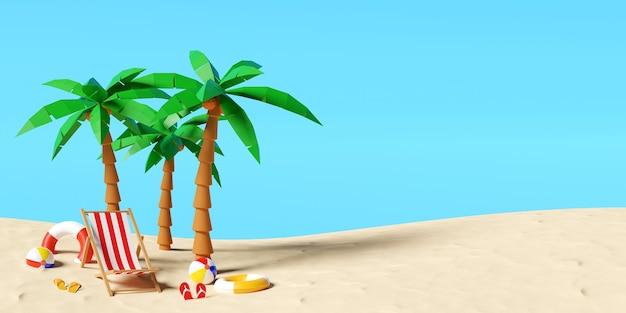 Koncepcja wakacji letnich, letnia plaża z parasolem plażowym, krzesłami i akcesoriami, tło ilustracji 3d