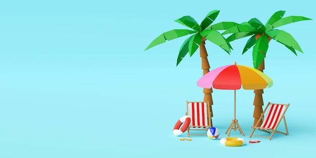 Koncepcja wakacji letnich, parasol plażowy, krzesła i akcesoria pod palmą na niebieskim tle, ilustracja 3d