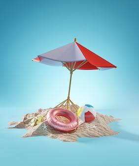 Koncepcja wakacji letnich. parasol plażowy renderowanie 3d