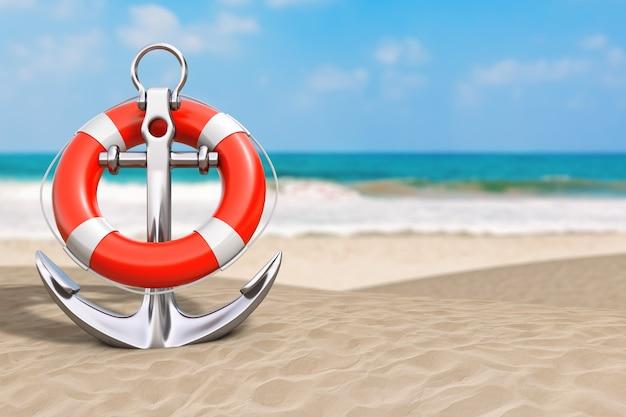 Koncepcja wakacji letnich. srebrna kotwica morskie z koło ratunkowe na zbliżenie skrajny ocean deserted coast. renderowanie 3d