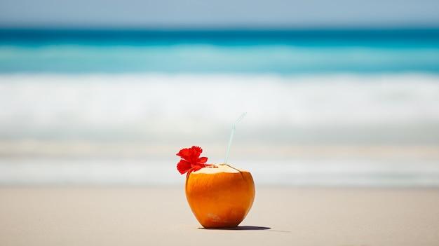 Koncepcja wakacji ze świeżym kokosem na plaży