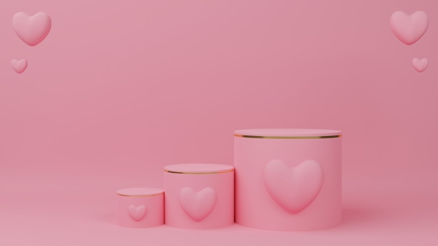 Koncepcja walentynki. okrągły różowy pastelowy kolor podium ze złotą krawędzią, trzy stopnie i różowy balon w kształcie serca.