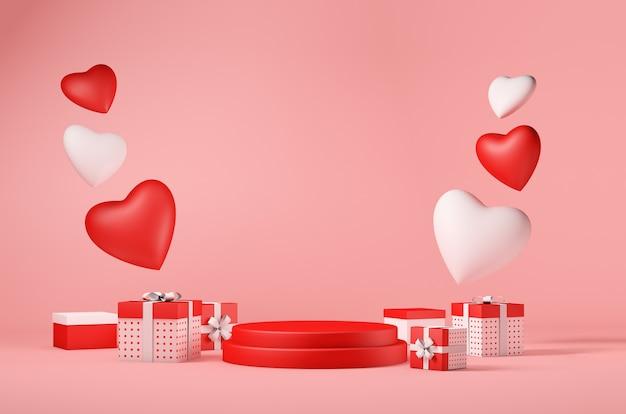 Koncepcja walentynki z pudełkami na prezenty i serduszkami miłości, podium dla twojego produktu