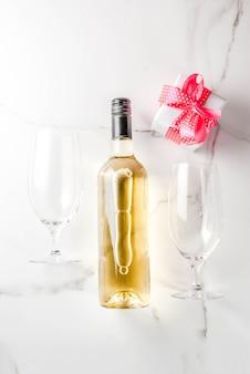 Koncepcja walentynki z winem