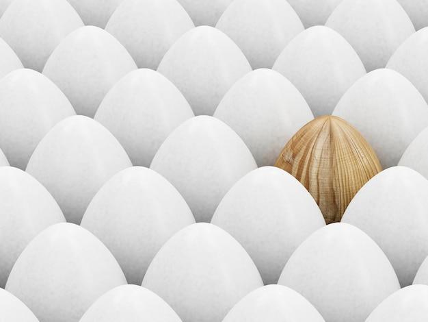 Koncepcja wesołych świąt. drewniane jajko wielkanocne wyróżniające się na tle innych. renderowanie 3d