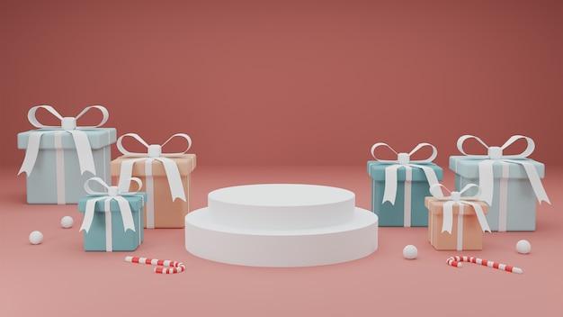 Koncepcja wesołych świąt na podium prezentacji produktu z pastelowe pudełko na czerwonym tle.