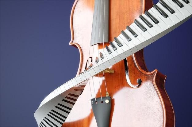 Koncepcja wieku skrzypce i piaone. wysokiej jakości renderowanie 3d