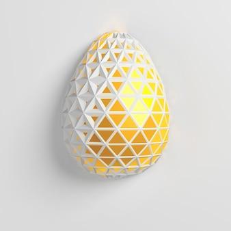 Koncepcja wielkanocna. jedno białe złote jajko z geometrycznymi oryginalnymi zmieniającymi się wzorami