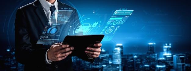 Koncepcja wirtualnej rzeczywistości samochodu elektrycznego ze stacją ładowania ev dla zielonej energii i ekologicznej energii produkowanej ze zrównoważonego źródła do zasilania stacji ładującej w celu zmniejszenia emisji co2.