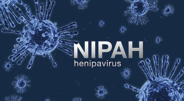 Koncepcja wirusa nipah. wirus mikroskopu z bliska., nipah henipavirus, wirus hendra, renderowanie 3d.