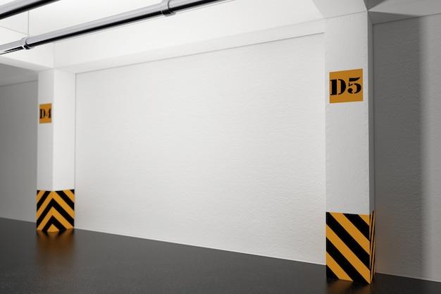 Koncepcja wnętrz przemysłowych. pusty podziemny parking garaż skrajny zbliżenie. renderowanie 3d.