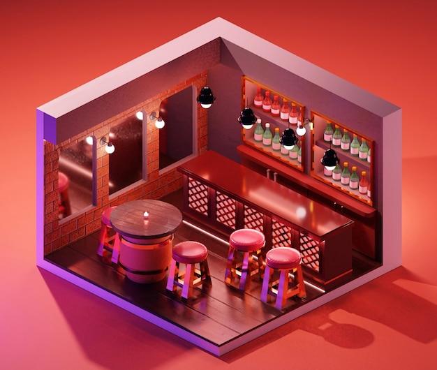 Koncepcja wnętrza sklepu izometryczny bar. ilustracja 3d