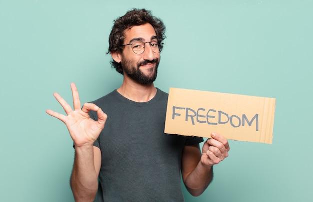 Koncepcja wolności młodego brodatego mężczyzny