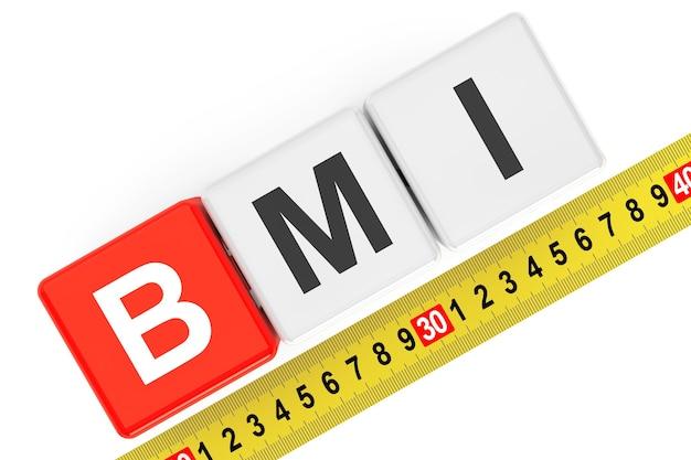 Koncepcja wskaźnika masy ciała. kostki bmi z miarką na białym tle