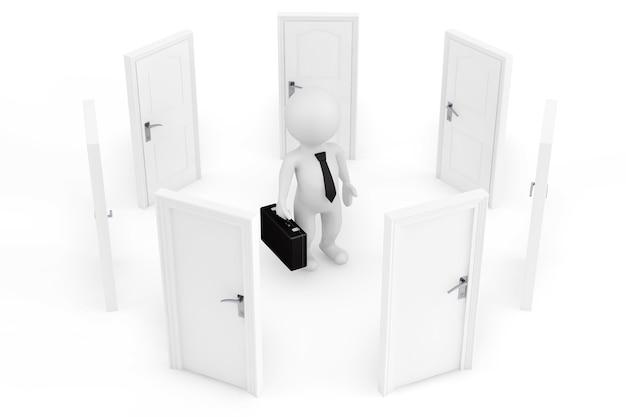 Koncepcja wyboru. 3d biznesmen otoczony drzwiami na białym tle