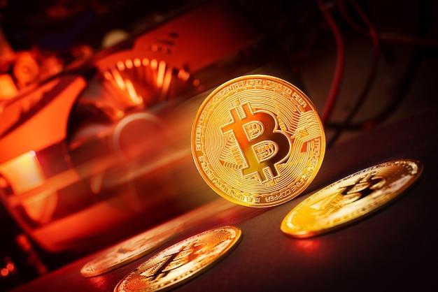Koncepcja wydobywania bitcoinów. farma górnicza.