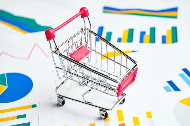 Koncepcja wykresów sprzedaży i popytu z koszykiem sklepu