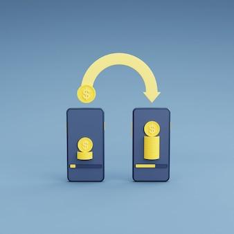 Koncepcja wymiany walut i bankowości online z telefonem i monetą