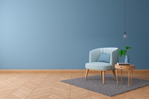 Koncepcja wystroju domu blueprint, niebieski fotel ze stołem z drewna na ścianie w kolorze niebieskiej farby i drewnianą podłogą w domu, projektowanie wnętrz, renderowanie 3d