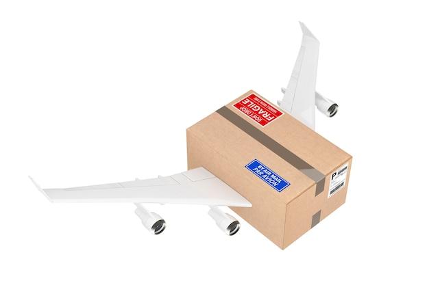 Koncepcja wysyłki pocztą lotniczą. kartonowa paczka z silnikami odrzutowymi i skrzydłami samolotu na białym tle. renderowanie 3d