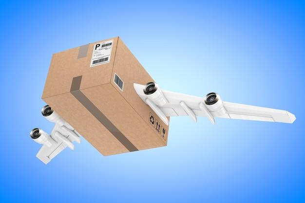 Koncepcja wysyłki pocztą lotniczą. kartonowa paczka z silnikami odrzutowymi i skrzydłami samolotu na niebieskim tle. renderowanie 3d