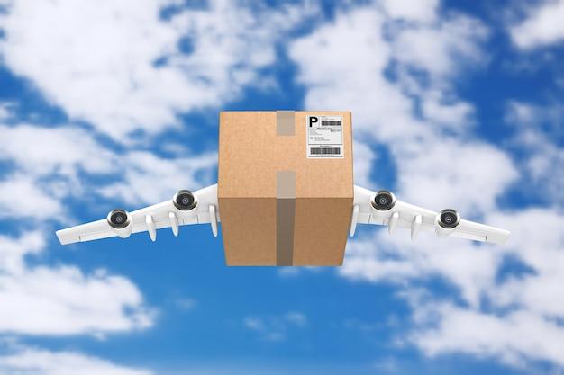 Koncepcja wysyłki pocztą lotniczą. kartonowa paczka z silnikami odrzutowymi i skrzydłami samolotu na tle błękitnego nieba. renderowanie 3d
