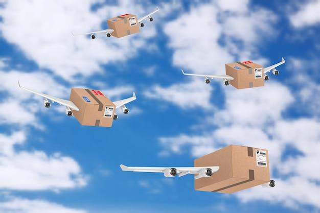 Koncepcja wysyłki pocztą lotniczą. paczki kartonowe z silnikami odrzutowymi i skrzydłami samolotu na tle błękitnego nieba. renderowanie 3d