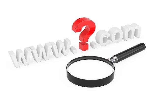 Koncepcja wyszukiwania w internecie. www znak zapytania com nazwa witryny z lupą na białym tle. renderowanie 3d