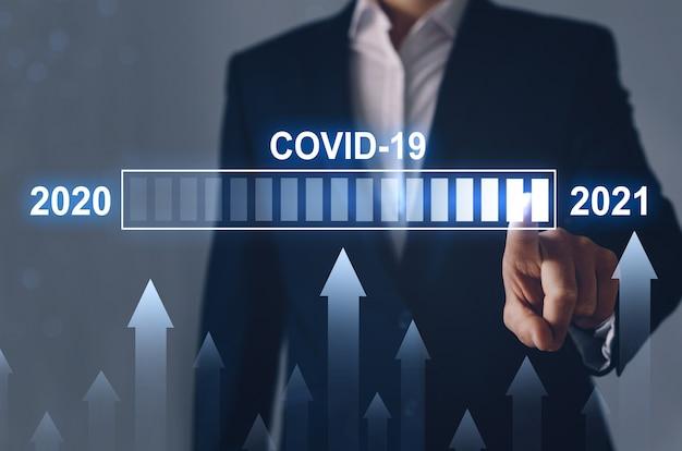Koncepcja wzrostu liczby przypadków pandemii covid-19 w 2021 r. w porównaniu do 2020 r. kryzys gospodarczy i era po covid-19