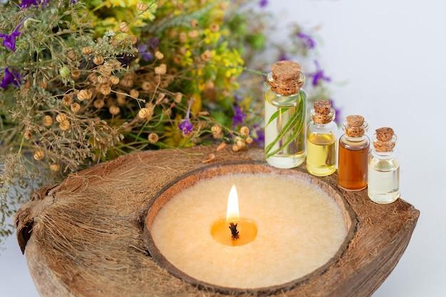 Koncepcja zabiegu spa z użyciem ziołowych olejków eterycznych