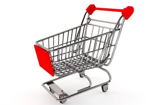 Koncepcja zakupów. koszyk na białym tle