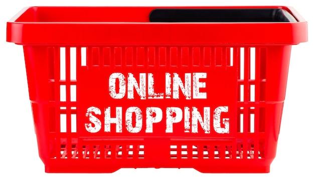 Koncepcja zakupów online. czerwony pusty koszyk na zakupy na białym tle