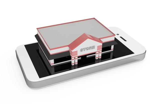 Koncepcja zakupów online. duży sklep budynku nad streszczenie telefon komórkowy na białym tle. renderowanie 3d