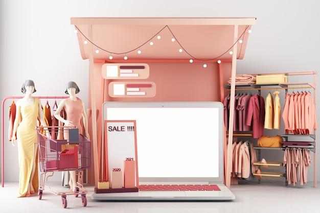 Koncepcja zakupów online kobiet w aplikacji społecznościowej. 3d ekran laptopa z torbą na zakupy, wiadomością na czacie, koszykiem na różowym pastelowym kolorze renderowania 3d