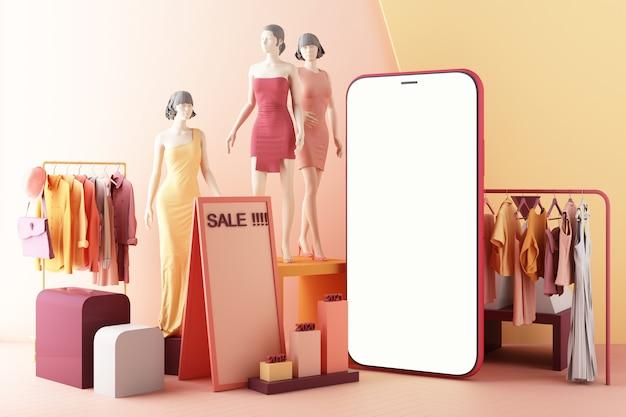 Koncepcja zakupów online kobiet w aplikacji społecznościowej. 3d ekran smartfona z torbą na zakupy, wiadomością na czacie, koszykiem na różowym pastelowym kolorze renderowania 3d