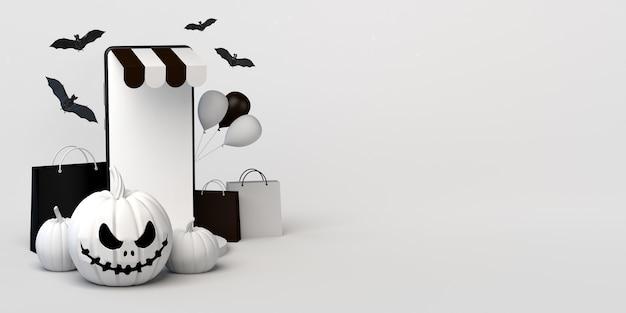 Koncepcja zakupów online na halloween z dynią jackolantern i smartfonem