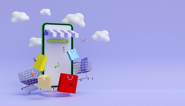 Koncepcja zakupów online wykres zakupów na smartfonie papierowe torby i chmury w tle