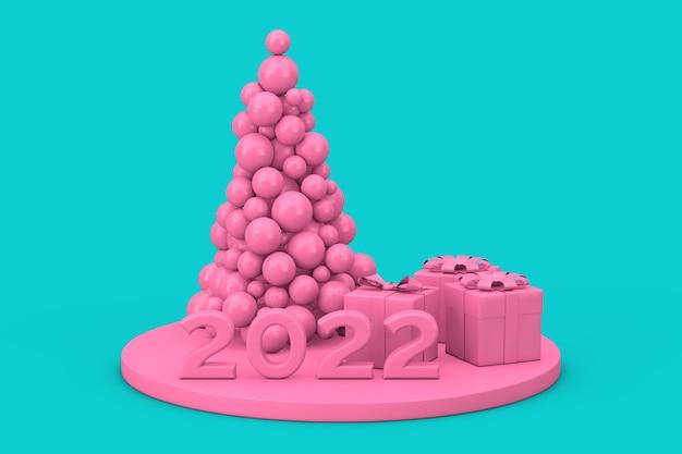 Koncepcja zakupy nowy rok. różowe kulki w kształcie choinki, nowy rok 2022 znak i pudełka w stylu bichromii na niebieskim tle. renderowanie 3d