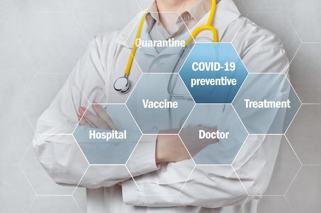 Koncepcja zapobiegania i leczenia covid-19 z tłem lekarza.