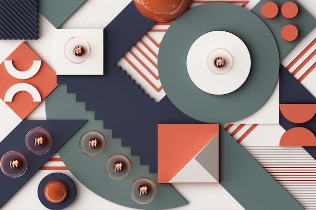 Koncepcja żarówek abstrakcyjna kompozycja platform kształtów geometrycznych w odcieniu niebieskim i pomarańczowym. renderowanie 3d