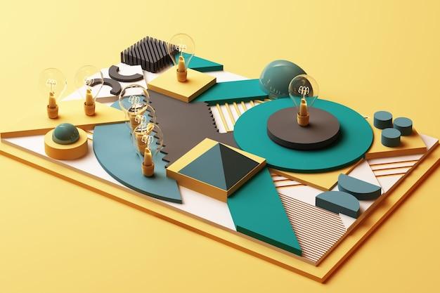Koncepcja żarówki abstrakcyjna kompozycja geometrycznych kształtów platform w odcieniu zieleni i żółci. renderowanie 3d