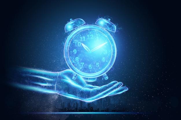 Koncepcja zarządzania czasem, obraz budzika z hologramem