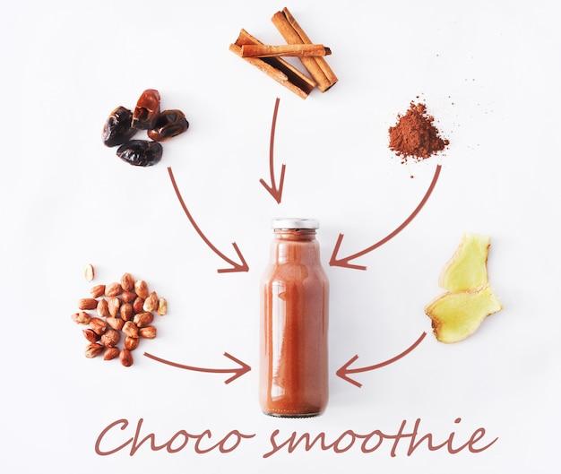 Koncepcja zdrowego napoju detoks, składniki koktajlu czekoladowego. naturalny, ekologiczny sok w butelce do diety odchudzającej lub na czczo. proszek kakaowy, imbir, owoce daktylowe i mieszanka cynamonu na białym tle