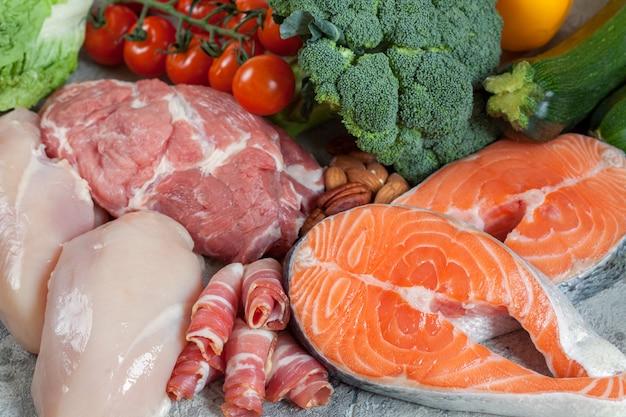 Koncepcja zdrowego odżywiania z jedzeniem niskowęglowodanowym