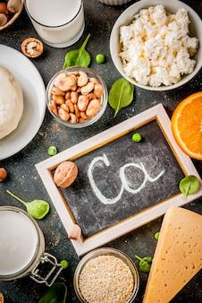 Koncepcja zdrowej żywności. zestaw żywności bogatej w wapń