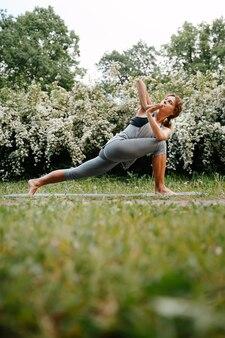 Koncepcja zdrowia i sportu młoda piękna kobieta robi ćwiczenia jogi w przyrodzie
