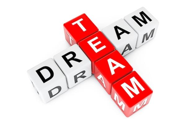 Koncepcja zespołu marzeń. podpisz jako bloki krzyżówki na białym tle. renderowanie 3d.