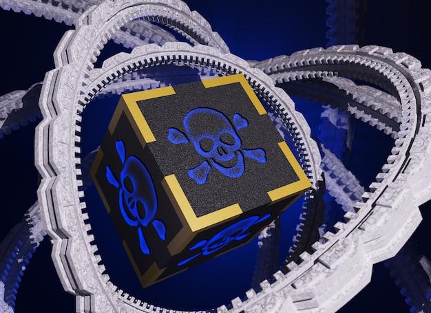Koncepcja złośliwego oprogramowania. program wirusowy. 3d, render,